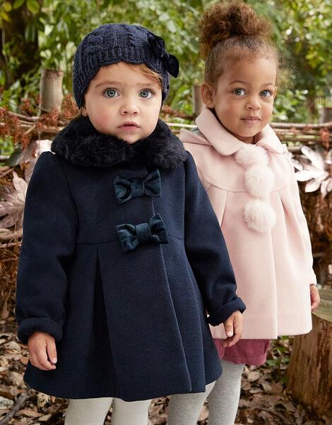Baby Velvet Bow Swing Coat Blue, Blue (NAVY), large