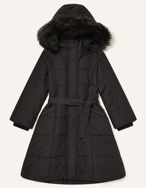 Longline Padded and Hooded Coat Black, Black (BLACK), large