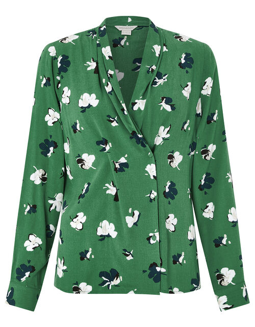 Aoife Floral Blouse, Green, large