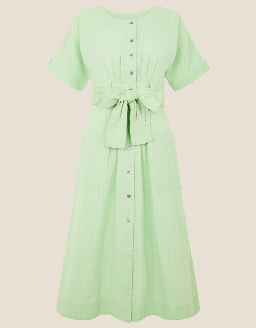 Crosshatch Midi Dress in Pure Cotton, Green (GREEN), large