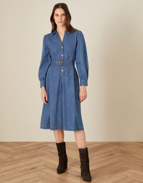Denim Collared Midi Dress Blue, Blue (DENIM BLUE), large