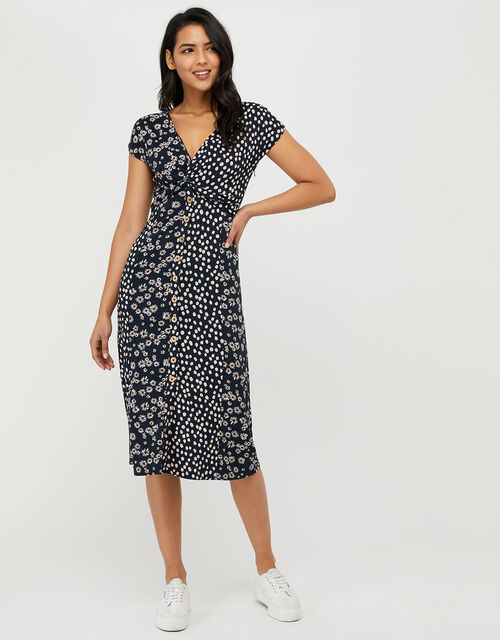 Serenity Spot and Floral Jersey Midi Dress, Blue (NAVY), large