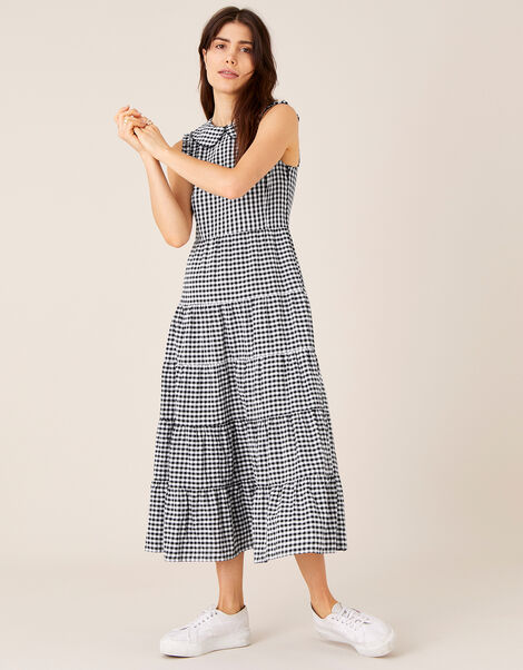 Collared Gingham Dress in Organic Cotton  Black, Black (BLACK), large