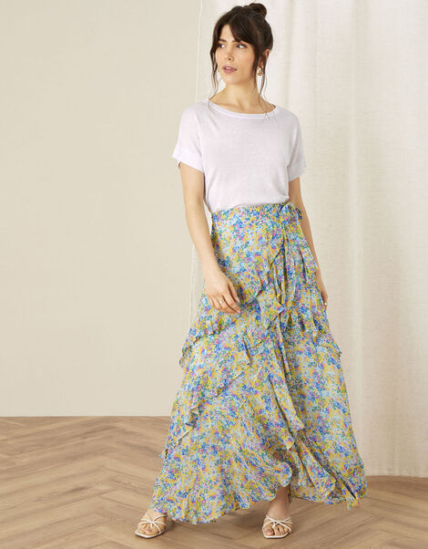 Helen Dealtry Louis Floral Wrap Skirt Blue, Blue (BLUE), large