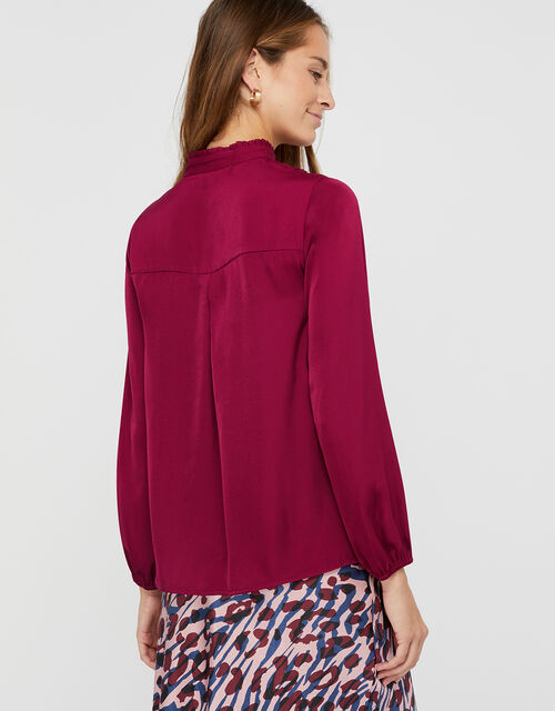 Marlow Military Satin Blouse, Raspberry, large