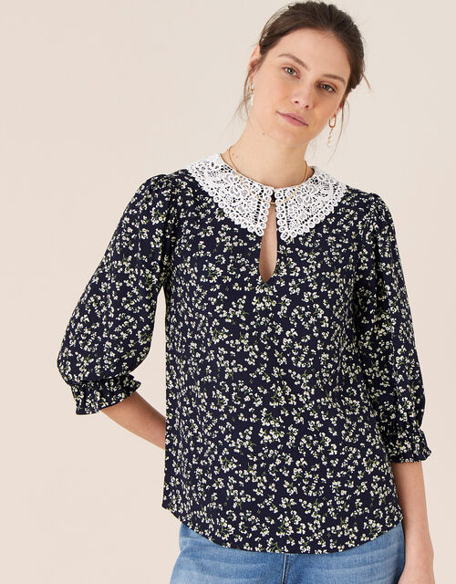 Lace Collar Ditsy Floral Top, Blue (NAVY), large