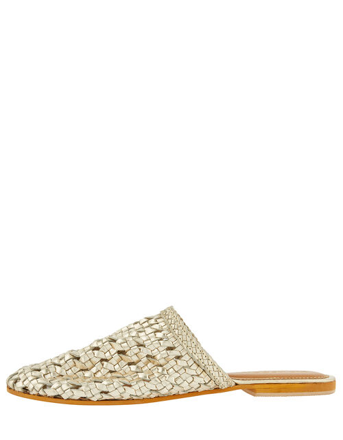 Woven Metallic Flat Mules, Gold (GOLD), large