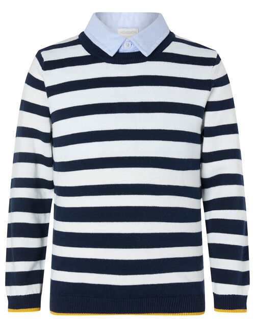 Stripe Knit Jumper with Collar, Blue (NAVY), large