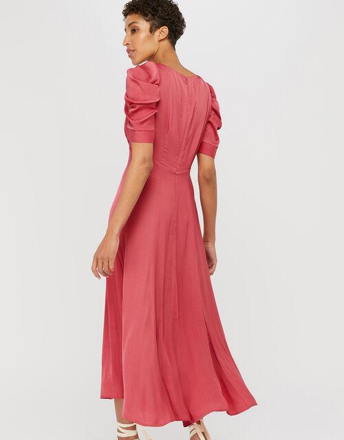Amelia Satin Midi Dress, Pink, large