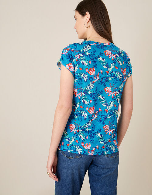 Brady Printed Top in Pure Linen, Blue (BLUE), large