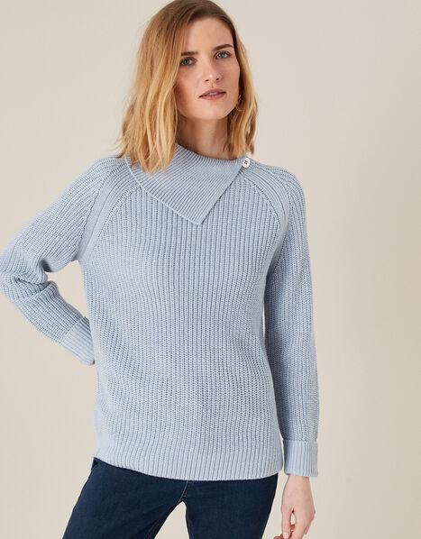 Split Neck Knit Jumper Blue, Blue (BLUE), large