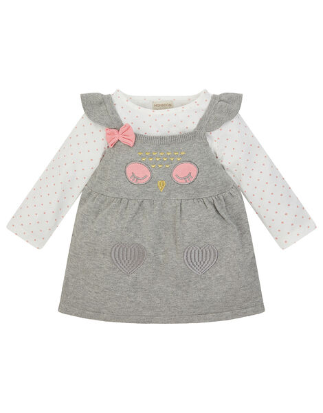 Newborn Baby Owl Knit Dress and Top Set Grey, Grey (GREY), large