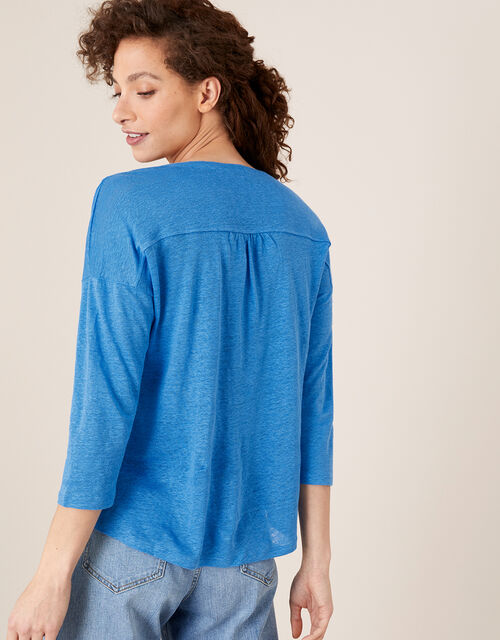 Split Long Sleeve Top in Pure Linen, Blue (BLUE), large