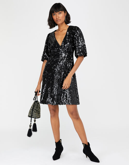 Serena Sequin Wrap Dress, Black (BLACK), large