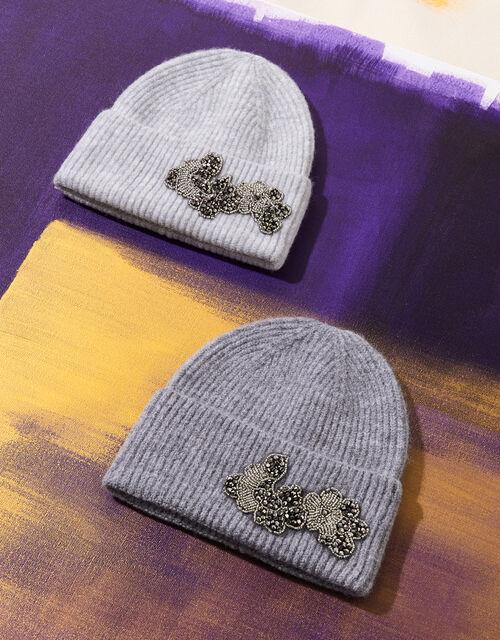 Bead Embellished Knit Hat, , large