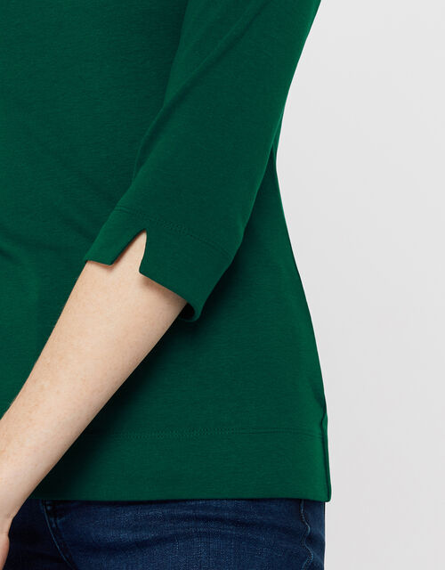 Breda Scoop Neck Jersey Top, Green, large