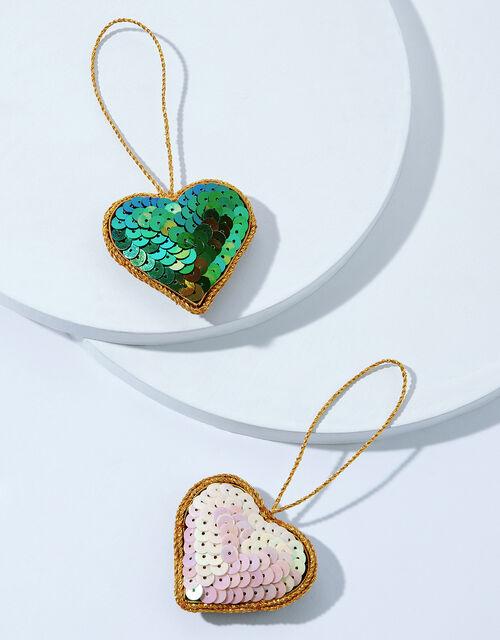 Sequin Heart Hanging Decoration Set, , large