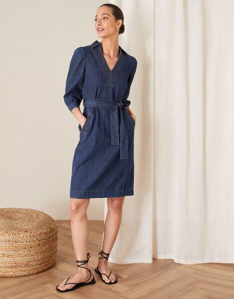 Belted Denim Dress Blue, Blue (DENIM BLUE), large