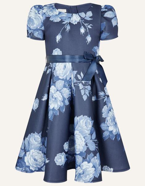 Floral Scuba Dress Blue, Blue (NAVY), large