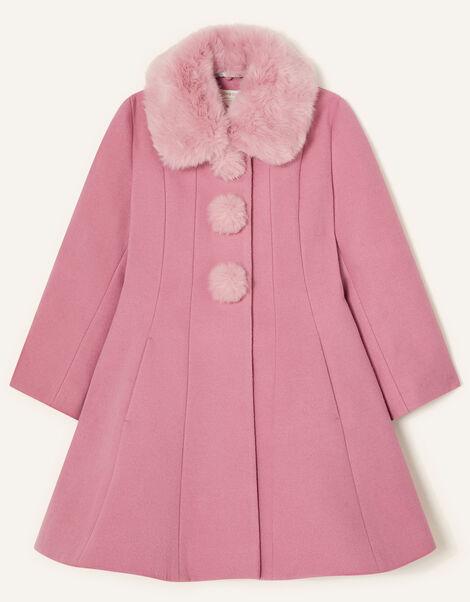 Fluffy Pom-Pom Swing Coat Pink, Pink (PINK), large