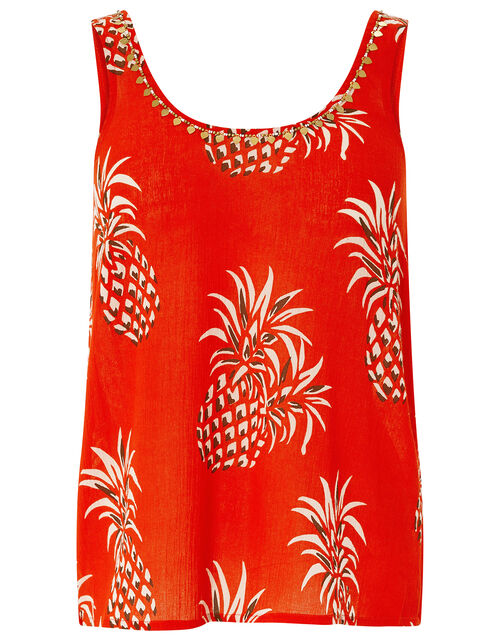 Anasi Woodblock Cami Top in Organic Cotton, Red (RED), large
