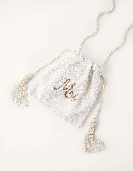 Mrs Beaded Drawstring Bridal Bag, , large