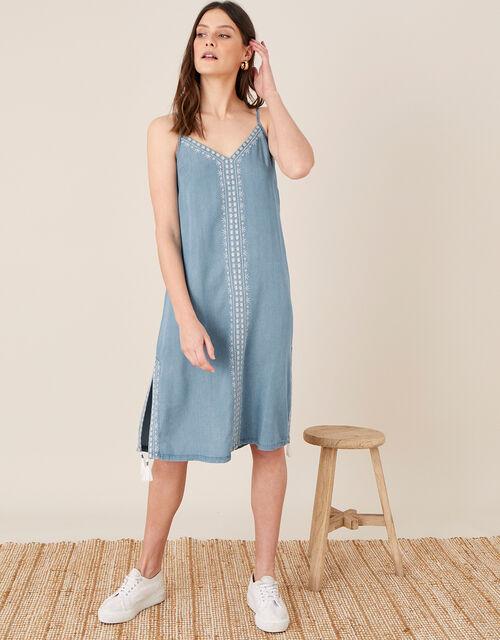 Embroidered Slip Dress in LENZING™ TENCEL™, Blue (DENIM BLUE), large