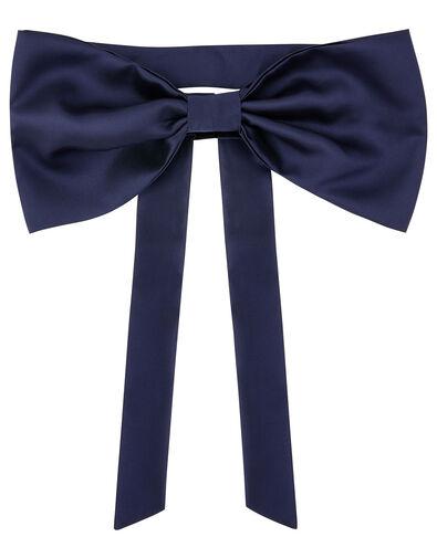 BRIDESMAID Duchess Twill Bow and Sash  Blue, Blue (NAVY), large