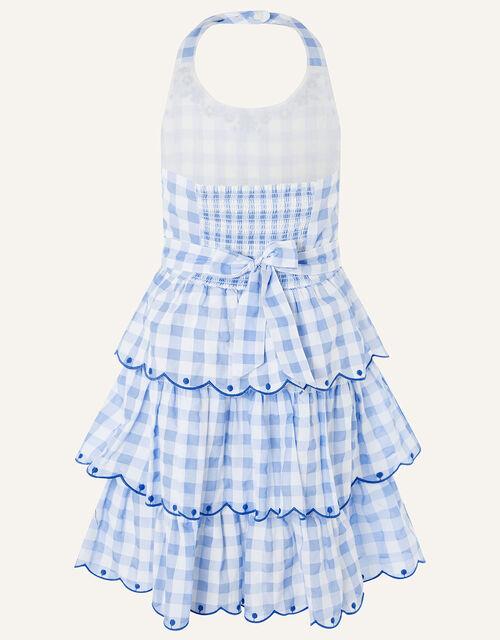 Gingham Halter Embroidered Dress , Blue (BLUE), large