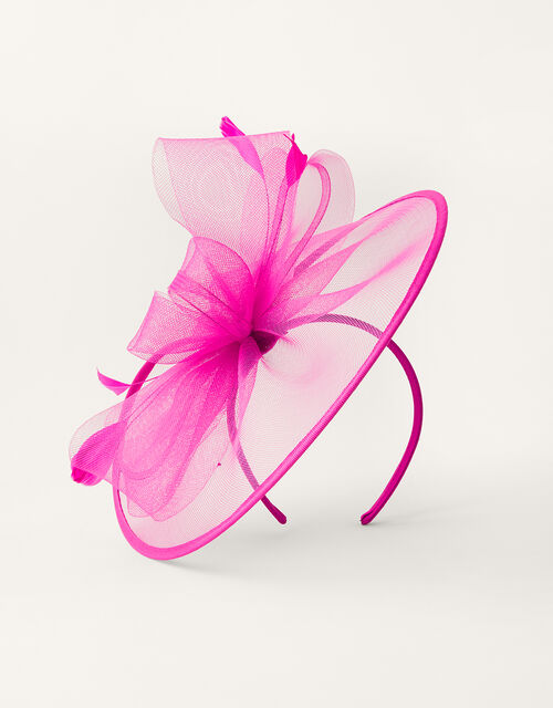 Crin Disc Fascinator Headband, Pink (FUCHSIA), large