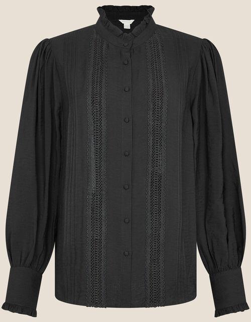 Victoriana Lace Trim Blouse, Black (BLACK), large