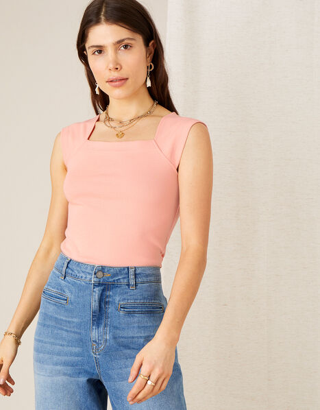 Clara Square Neck Vest Pink, Pink (BLUSH), large