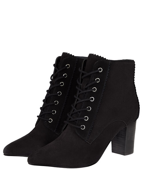Lace-Up Suede Heeled Ankle Boots, Black (BLACK), large