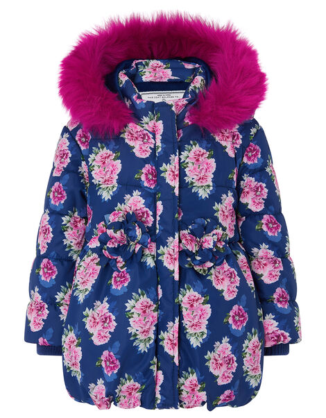 Baby Rose Print Hooded Coat Blue, Blue (NAVY), large