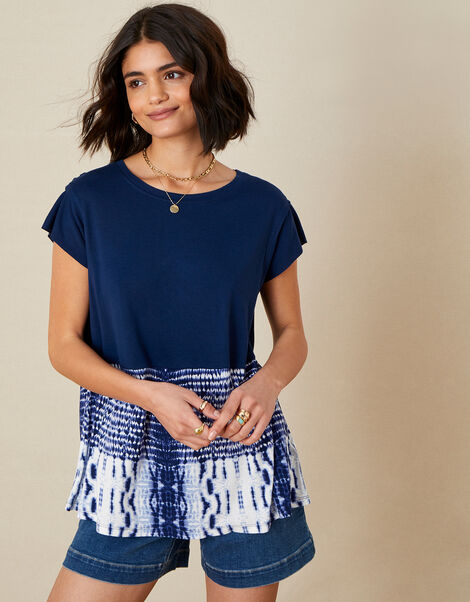 Tie Dye Hem T-Shirt Blue, Blue (NAVY), large