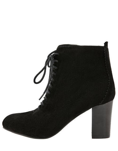 Lia Suede Lace-Up Ankle Boots, Black (BLACK), large