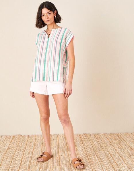 Stripe Print Top in Linen Blend White, White (WHITE), large