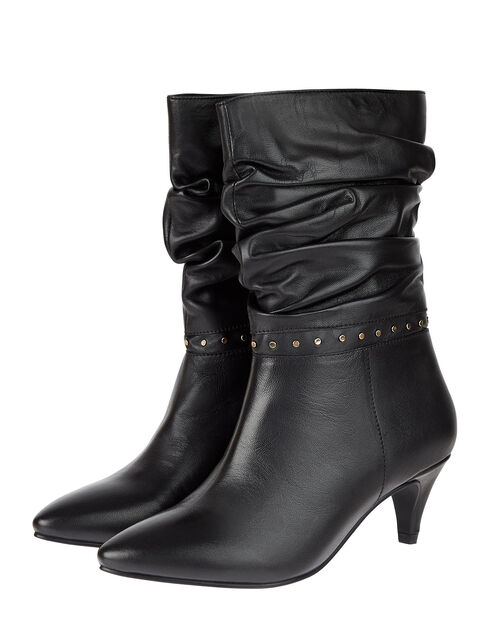 Slouch Studded Leather Ankle Boots, Black (BLACK), large