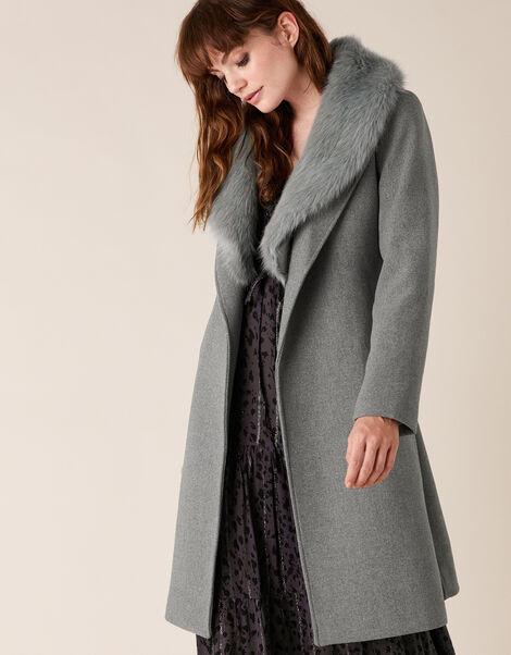 Faux Fur Collar Coat in Wool Blend Grey, Grey (GREY), large