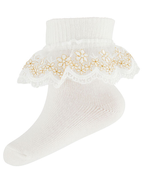 Baby Metallic Floral Ankle Socks, Ivory (IVORY), large