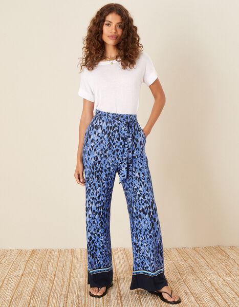 Animal Print Wide Leg Trousers Blue, Blue (BLUE), large
