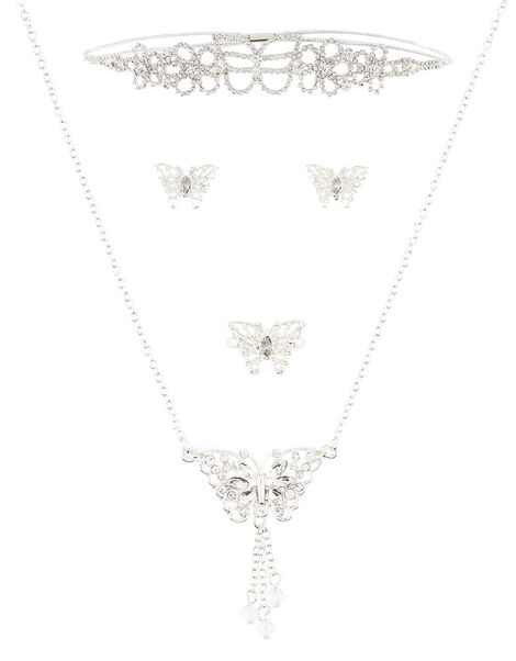 Butterfly Diamante Bando and Jewellery Set , , large