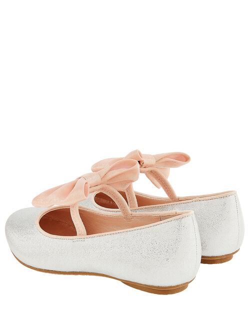 Samira Bow Glitter Ballerina Shoes, Silver (SILVER), large