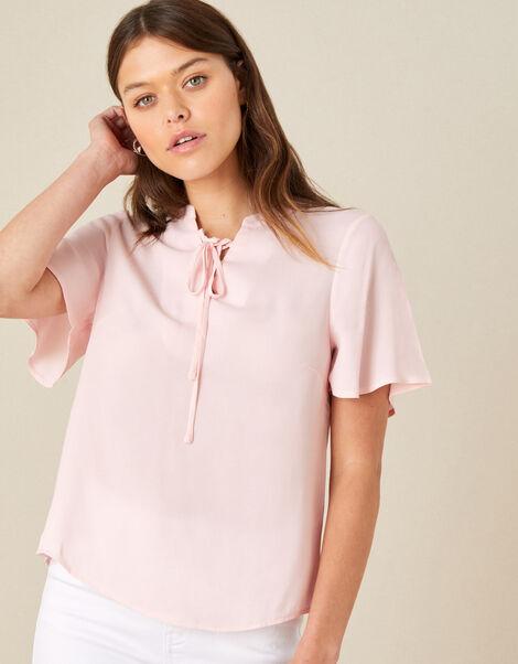 Tie Neck Short Sleeve Blouse Pink, Pink (BLUSH), large