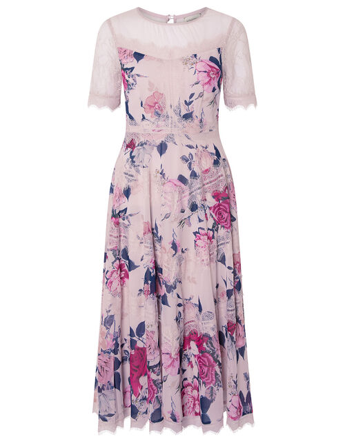 Millicent Floral Print and Lace Dress, Nude (NUDE), large