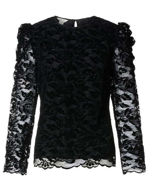 Flocked Lace Long-Sleeve Top, Black (BLACK), large