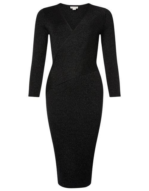 Shimmer Knit Wrap Dress, Black (BLACK), large