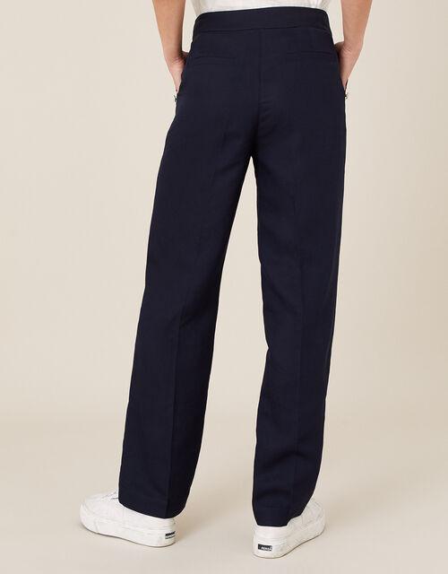 Smart Shorter Length Trousers in Linen Blend, Blue (NAVY), large