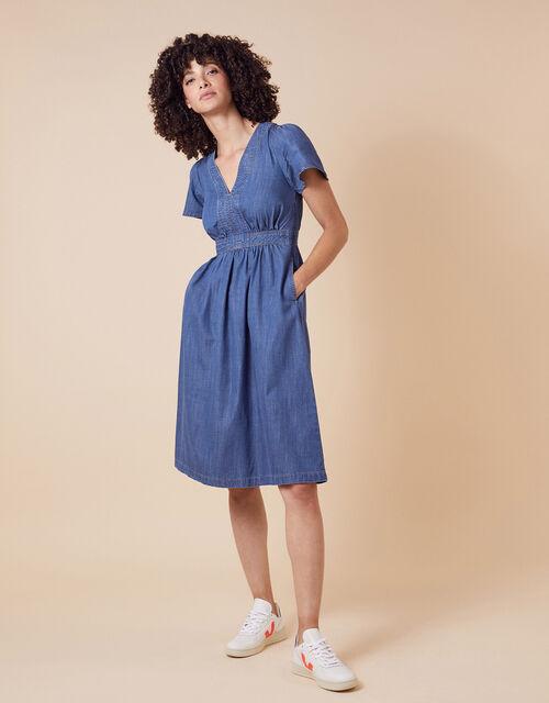 Denim Midi Dress in LENZING™ TENCEL™, Blue (DENIM BLUE), large