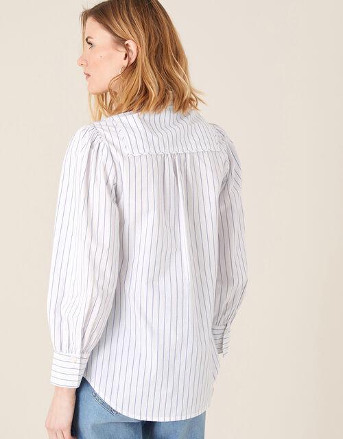 Pinstripe Poplin Shirt, Ivory (IVORY), large